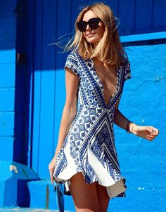 Pencey Geo Deep V Dress