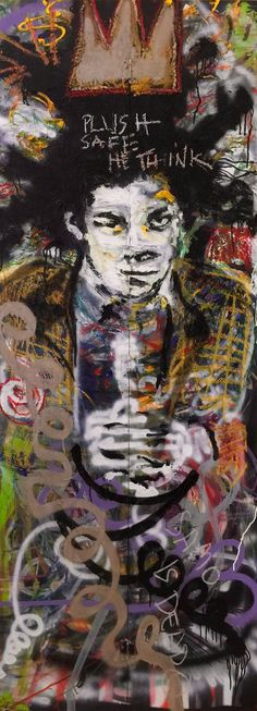 Jean Michel Basquiat Reclaimed Wood Art by Matt Pecson - Street Art, Pop Art