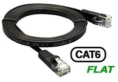 InstallerParts 35Ft Cat 6 550 MHZ Flat Patch Cable Black - Professional Series - Cat6 Computer LAN Cable with 50 Micron Gold Plated RJ45 Connectors for High Speed Ethernet Data Network -- Be sure to check out this awesome product.