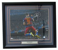 Neymar Jr. Signed Framed FC Barcelona 16x20 Soccer Celebration Photo PSA 7A79252