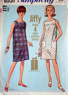 Simplicity 6531 Vintage 60's Sewing Pattern, Jiffy Dress, Size 12, 32 Bust, Uncut Factory Folded, Simple To Sew