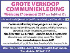 Woe 27/12: Grote verkoop communie-kledij!! -- Oostrozebeke -- 27/12
