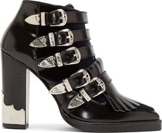 Toga Pulla Black Velvet Panel Western Buckle Polido Boots | FW 2014 | cynthia reccord