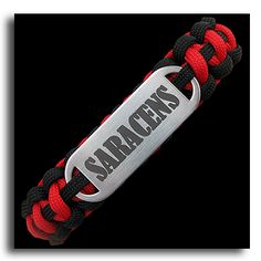 Saracens are a professional rugby union team based in London, England although they formerly played their home games at Vicarage Road, in Watford. The team returned to London during the 2012 13 season, when they relocated to their newly built and renovated Allianz Park.  Rugby club paracord bracelets with or without laser engraved stainless steel plates. Choose your size and fastening types