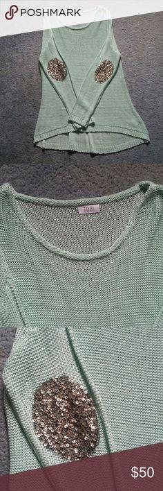 Tobi Mint Sweater w/ Sequin Elbow Pads Worn once! Mint condition ;) get itttt Tobi Sweaters Crew & Scoop Necks