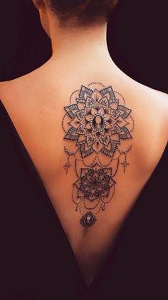 50 of the Most Beautiful Mandala Tattoo Designs for Your Body & Soul beautiful . Malin Heyde uncategorized 50 of the Most Beautiful Mandala Tattoo Designs for Your Body & Soul beautiful mandala tattoo © tattoo artist anais_chabane Mandala Tattoo Design, Mandala Tattoo Back, Dotwork Tattoo Mandala, Body Tattoo Design, Tattoo Designs, Mandala Art, Henna Mandala, Boho Tattoos, Dream Tattoos