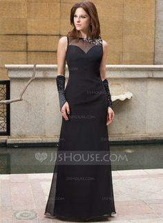Evening Dresses - $139.99 - Sheath Scoop Neck Floor-Length Chiffon Tulle Evening Dress With Beading (022027394) http://jjshouse.com/Sheath-Scoop-Neck-Floor-Length-Chiffon-Tulle-Evening-Dress-With-Beading-022027394-g27394