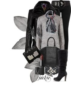 """Black and Gray"" by jackie22 ❤ liked on Polyvore"