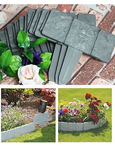 40XGrey-Garden-Edging-Cobbled-Stone-Effect-Plastic-Plant-Hammer-In-Lawn-Palisade