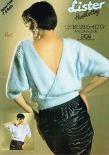 80s Chic Knitting Pattern Ladies Crossover Back Lacy Panel Sweater Lister 5136
