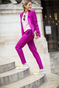 Bright purple suit , good way to look more feminine in men ispired clothes.