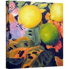 ArtWall Marina Petro Limes and Lemons Gallery-wrapped Canvas, Size: 36 x 36, Green