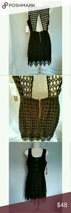 "XOXO SEXY LBD BLACK CUT OUT LACE DRESS NWT XOXO SEXY LBD BLACK LACE DRESS NWT This wowser dress has cut outs in the front and back . The dress is lined in the front bodice and the entire skirt. The back has a three loop button closure at the neckline and then plunges to the waist and the dress back bodice has unlined cut outs. Armpit to armpit is 17.25"" waist is 14"" Shoulder to hem length is 35"".  All measuremeants are approximate and taken flat. This is a junior 5/6 Strut your stuff on New…"