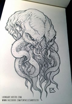 Cthulhu Comission 3 by TentaclesandTeeth - Drawing - Cthulhu Tattoo, Cthulhu Art, Lovecraft Cthulhu, Hp Lovecraft, Lovecraftian Horror, Design Tattoo, Desenho Tattoo, Creature Concept, Horror Art