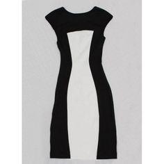 Color Block Packet Buttock Cape Sleeve V-Neck Women's Dress, WHITE AND BLACK, XL in Dresses 2014 | DressLily.com
