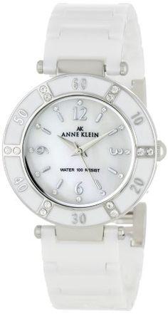 Anne Klein Women's 109417WTWT Swarovski Crystal Accented Silver-Tone White Ceramic Watch