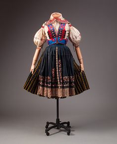 Ensemble, late 19th–early 20th century  Slovakian  Cotton, silk, wool #ethnic #Europe #costume #clothing #vernacular