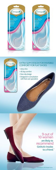 146db48529 Insoles 169284: Amope Gelactiv Flat Shoes Insoles For Women, Size 5-10 (