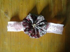 coloured flower with pink pearls- headband