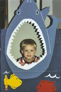Feed the shark game- such a cute idea and cute photo favor for little boy's birthday party!