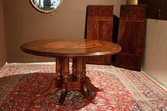Round to Oval Dining Room Table-Mahogany Round Table with Leaves