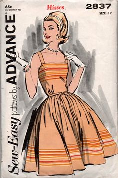 Advance 2837 Womens Full Skirt Rockabilly Dress 60s Vintage sewing pattern Size 12 Bust 32 inches