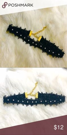 "Lace & Pearl Accent Choker Black lace and pearl accent choker is handmade by yours truly  The choker is one of summers hottest trends! Choker measures 11"" & adjusts to 14"" and fits most! NOT FREE PEOPLE. Free People Jewelry Necklaces"