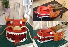Têtes de dragon peintes. Painted dragon heads. https://www.facebook.com/feefollette.home
