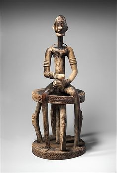 Dogon Seated Male Figure C 18-19 - While the original context for this imposing work is undocumented, such figurative creations by Dogon masters are considered to have been commemorative in nature. Michel Leiris emphasized their role as supports for the nyama, or life force of a deceased individual.....