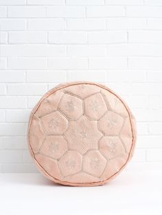 Moroccan Leather Tile Pouffe, Soft Pink footstool, ethically handmade by artisans in Morocco with delicate embroidery in a tile design. A versatile and hardwearing bohemian home accessory. Available filled or unfilled. Yellow Home Accessories, Home Interior Accessories, Interior Rugs, Bridal Accessories, Interior Trim, Pink Ottoman, Bohemia Design, Moroccan Pouffe, Leather Wall