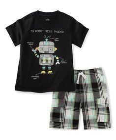 Black Robot Tee & Plaid Shorts - Infant Toddler & Boys