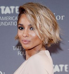 Singer Ciara has tinted her short, textured bob a gorgeous ash-blond with tons of shine.
