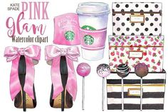 Kate Spade Pink Glam clipart by PrintableHenry on Creative Market