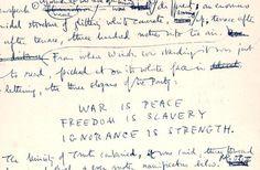 George Orwell's handwritten manuscript of 1984.