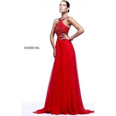 Long Red Sherri Hill 21338 Halter Neck Homecoming Dress ($275) ❤ liked on Polyvore featuring dresses, halter homecoming dresses, white dress, red halter dress, red dress and white halter dress