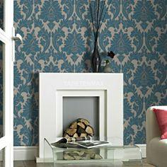 Luxus-Retro-Barock-Tapete-silber-grau-metall | Tapeten | Pinterest ...
