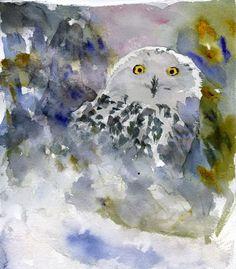 Snowy Owl, Watercolor Art