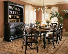 Lovely Furniture, Dark Brown Modern Formal Dining Room Design With Oak Wooden  Dining Table And 8 Ladder Chairs Plus Black Wooden Cabinet And White  Curtains Ideas: ...