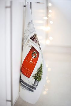 """Christmas Tea Towel with a festive red door, from the """"Georgian doors of Dublin"""" range. Handmade in Ireland & packed in a reusable organza bag. Unique Birthday Gifts, Birthday Love, Christmas Tea, Christmas Themes, Georgian Doors, Retirement Cards, Luxury Towels, Grandpa Gifts, Gifts For Mum"""