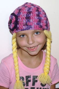 Crochet hat with attached braids yarn hair costume