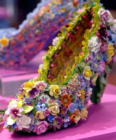 China flower shoe - Mosaic Art Shoes by Candace Bahouth http://myown2sense.com/2014/09/03/peep-toes-pumps-or-penny-loafers/