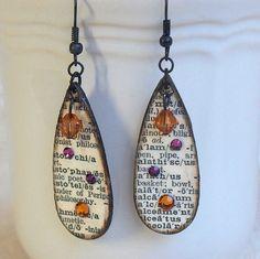 Earrings Decoupaged Wood Teardrop Earrings Black and  White Dictionary Print Swarovski Crystal  Topaz Purple Pink