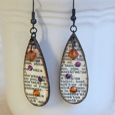 Earrings Decoupaged Wood Idea for something similar in resin? ... Teardrop Earrings Black and White Dictionary Print Swarovski Crystal Topaz Purple Pink by rrizzart