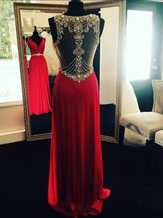 Luxury red beading see-through V-neck handmade dresses, column long evening dresses