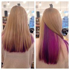 Half Colored Hair, Half Dyed Hair, Dyed Hair Purple, Dyed Blonde Hair, Lilac Hair, Hair Color Purple, Blonde Color, Violet Hair, Under Hair Dye