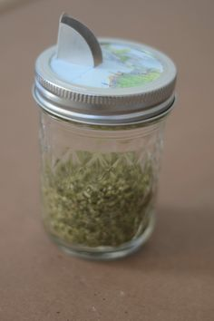 cut off the top of a salt container and fit it in the mason jar lid to make a spice shaker