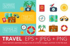 #Free #Design #Download Summer trip in a flat style.