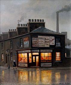 The Corner Shop, Broughton, Salford 1952 by Steven Scholes Michelangelo, Edwardian Architecture, Level Design, Train Art, Salford, Naive Art, Great Photos, New Art, Illustration Art