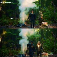 Bellamy and Clarke from CW's The 100. The whole leaving camp/slow-motion thing made me very happy. :D | #Bellarke||TV shows||The 100 finale|