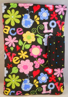 Cute Kindle Fire Cover for Tween and Teen Girls.  Peace, Flowers, Birds, very colorful